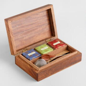 Carved Wood Chinese Tea Gift Box Set